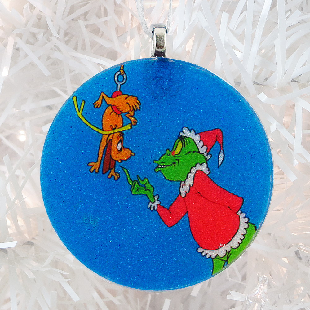 The Grinch glass and glitter handmade Christmas ornament by BBJ
