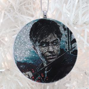 Harry Potter - silver glitter  - Custom image glass and glitter handmade holiday ornament.