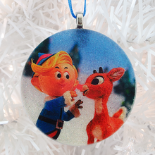 Load image into Gallery viewer, Hermey and Rudolph the Red-Nosed Reindeer glass and glitter handmade Christmas ornament by BBJ