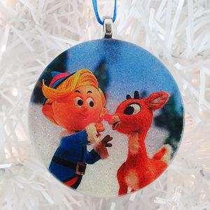 Hermey and Rudolph the Red-Nosed Reindeer glass and glitter handmade Christmas ornament by BBJ