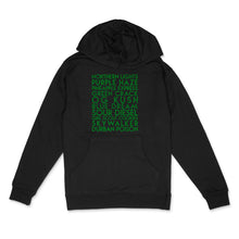 Load image into Gallery viewer, Cannabis Strains custom green glitter on black unisex pullover hoodie - Custom YourTen sweatshirt by BBJ / Glitter Garage