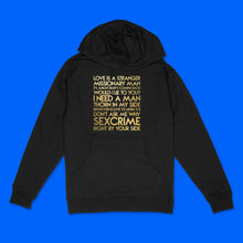 Load image into Gallery viewer, Eurythmics songs custom gold metallic text on black unisex pullover hoodie - Custom YourTen sweatshirt by BBJ / Glitter Garage