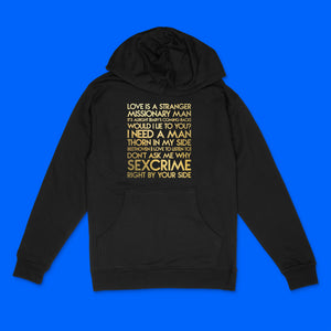 Eurythmics songs custom gold metallic text on black unisex pullover hoodie - Custom YourTen sweatshirt by BBJ / Glitter Garage