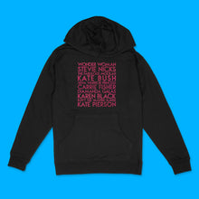 Load image into Gallery viewer, Sheroes custom hot pink glitter text on black unisex pullover hoodie - Custom YourTen sweatshirt by BBJ / Glitter Garage