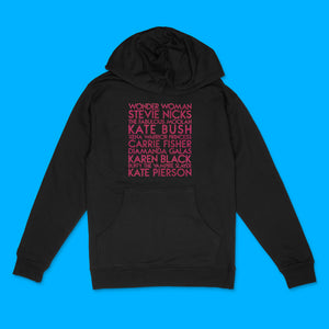 Sheroes custom hot pink glitter text on black unisex pullover hoodie - Custom YourTen sweatshirt by BBJ / Glitter Garage