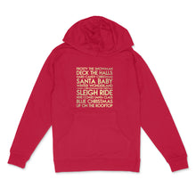 Load image into Gallery viewer, Christmas songs custom gold metallic text on unisex red pullover hoodie - Custom YourTen sweatshirt by BBJ / Glitter Garage