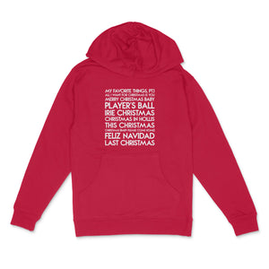 Christmas songs custom white matte text on unisex red pullover hoodie - Custom YourTen sweatshirt by BBJ / Glitter Garage