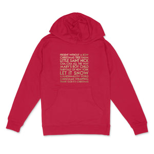 Christmas songs custom gold glitter text on unisex red pullover hoodie - Custom YourTen sweatshirt by BBJ / Glitter Garage