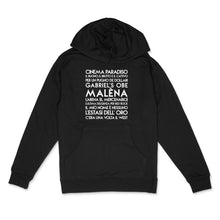 Load image into Gallery viewer, Ennio Morricone custom white matte text on black unisex pullover hoodie - Custom YourTen sweatshirt by BBJ / Glitter Garage