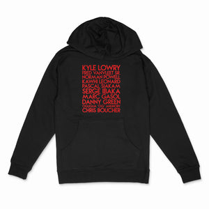 Raptors 2019 team custom red matte text on black unisex pullover hoodie - Custom YourTen sweatshirt by BBJ / Glitter Garage