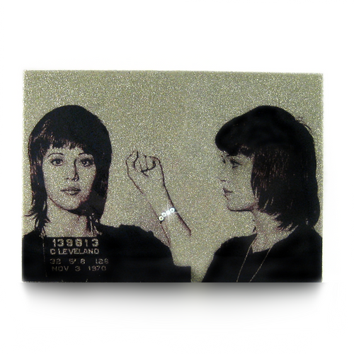 Jane Fonda mug shot wall art plaque