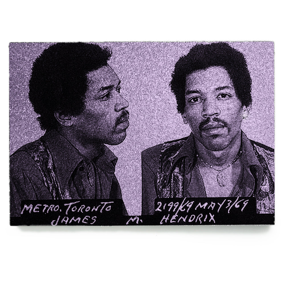 Jimi Hendrix mug shot wall art plaque