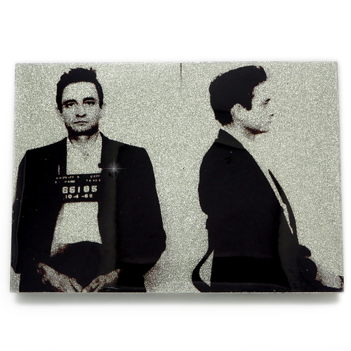 Johnny Cash mug shot wall art plaque