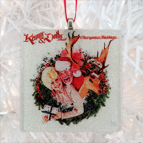 Kenny Rogers & Dolly Parton Once Upon a Christmas Album Cover Glass Ornament by BBJ