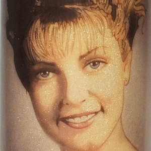 Glass prayer-style candle devoted to Twin Peaks character Laura Palmer with hand-drawn portrait by BBJ - detail view