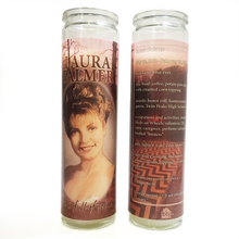Load image into Gallery viewer, Glass prayer-style candle devoted to Twin Peaks character Laura Palmer with hand-drawn portrait by BBJ - back & front view