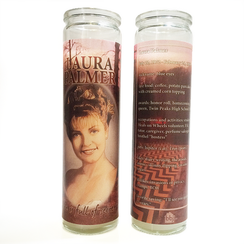 Glass prayer-style candle devoted to Twin Peaks character Laura Palmer with hand-drawn portrait by BBJ - back & front view