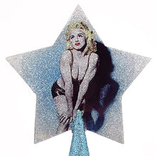 Load image into Gallery viewer, Madonna Christmas tree topper star with ice blue glitter by BBJ - detail