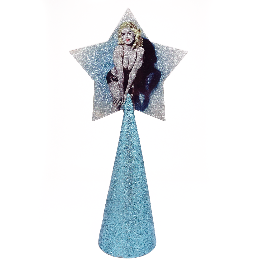 Madonna Christmas tree topper star with ice blue glitter by BBJ
