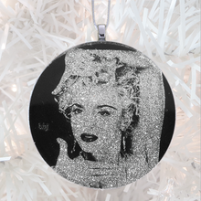 Load image into Gallery viewer, Madonna Vogue  pose - silver glitter  - Custom image glass and glitter handmade holiday ornament.