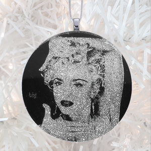 Madonna Vogue  pose - silver glitter  - Custom image glass and glitter handmade holiday ornament.