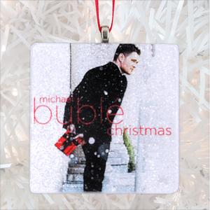 Michael Buble Christmas Custom Album Cover Glass Ornament by BBJ