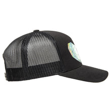 Load image into Gallery viewer, Classic black snapback hat with holographic faceted heart detail by BBJ / Glitter Garage. Unisex style, breathable mesh back with matching plastic snap closure fits most. Side view.