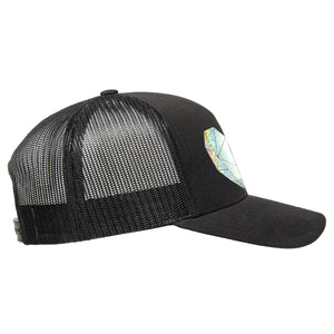 Classic black snapback hat with holographic faceted heart detail by BBJ / Glitter Garage. Unisex style, breathable mesh back with matching plastic snap closure fits most. Side view.