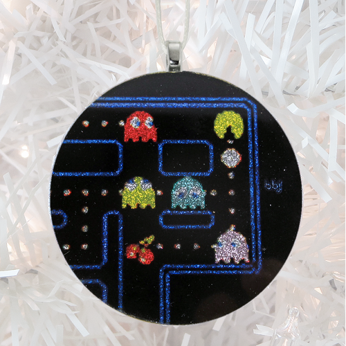 Pac Man glass and glitter handmade Christmas ornament by BBJ