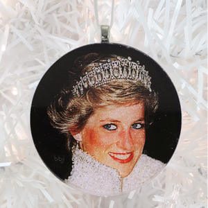 Princess Diana - white glitter  - Custom image glass and glitter handmade holiday ornament.