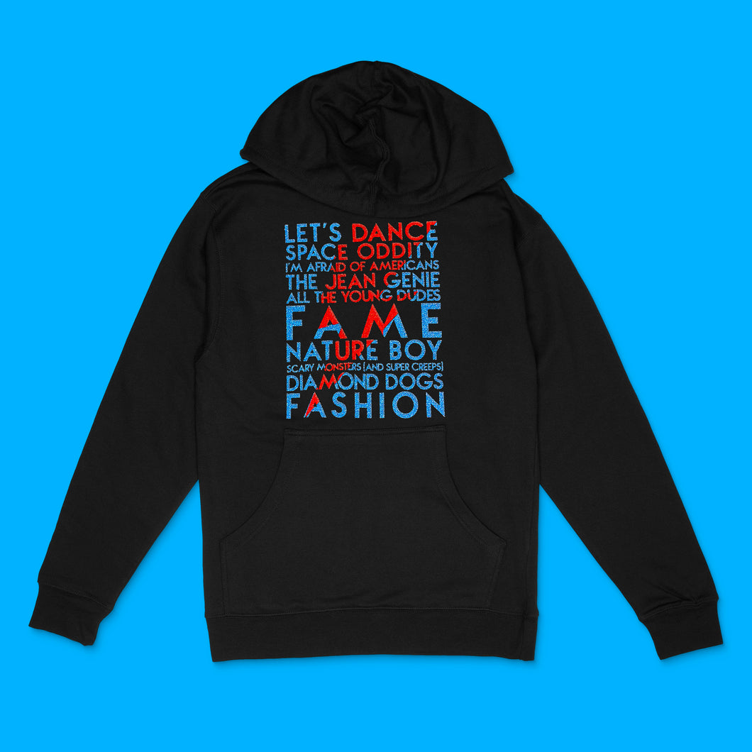 David Bowie song titles with lightning bolt icon in red and blue glitter text on black unisex hooded sweathshirt - Customizable YourTen David Bowie Icon hooded sweatshirt by BBJ / Glitter Garage