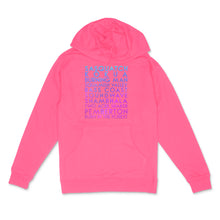 Load image into Gallery viewer, Festivals custom holo pearl text on neon pink unisex pullover hoodie - Custom YourTen sweatshirt by BBJ / Glitter Garage