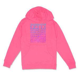 Festivals custom holo pearl text on neon pink unisex pullover hoodie - Custom YourTen sweatshirt by BBJ / Glitter Garage