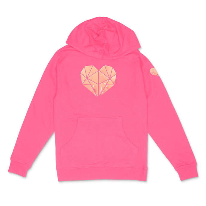 neon pink hooded sweatshirt with holographic pearl faceted heart icon by BBJ /Glitter Garage