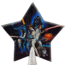 Load image into Gallery viewer, Star Wars A New Hope Christmas tree topper star with silver glitter by BBJ - detail