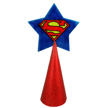 Load image into Gallery viewer, Superman logo Christmas tree topper star with red glitter by BBJ