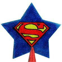 Load image into Gallery viewer, Superman logo Christmas tree topper star with red glitter by BBJ - detail