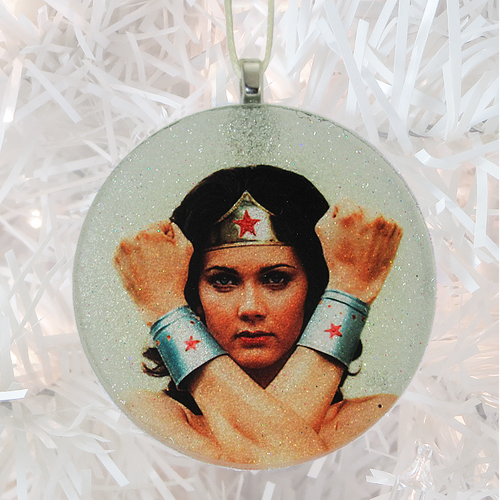 Wonder Woman Lynda Carter glass and glitter handmade Christmas ornament by BBJ