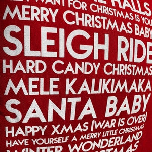 Detail of Christmas songs custom white glitter text on unisex red pullover hoodie - Custom YourTen sweatshirt by BBJ / Glitter Garage