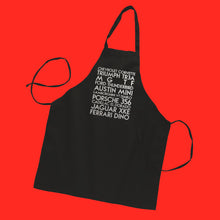 Load image into Gallery viewer, Father in laws fave cars custom silver lens text on black apron - Custom YourTen apron by BBJ / Glitter Garage