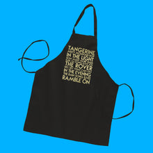 Load image into Gallery viewer, Led Zepellin songs gold matte text on black apron - Custom YourTen apron by BBJ / Glitter Garage