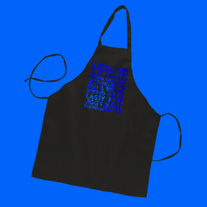 Newfoundland eats and drinks custom blue metallic text on black apron - Custom YourTen apron by BBJ / Glitter Garage