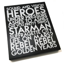 Load image into Gallery viewer, David Bowie songs - white glitter text on black wood art plaque - YourTen custom typography wall art by BBJ / Glitter Garage