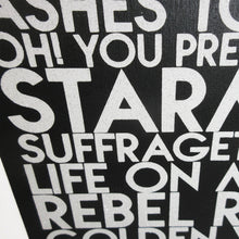 Load image into Gallery viewer, Detail of David Bowie songs wall art - white glitter text on black wood art plaque - YourTen custom typography wall art by BBJ / Glitter Garage