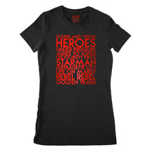 Load image into Gallery viewer, David Bowie song titles - house - red metallic text on black ladies fit t-shirt - Customizable YourTen David Bowie tee by BBJ / Glitter Garage