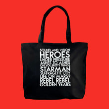 Load image into Gallery viewer, David Bowie songs custom white matte text on deluxe black canvas tote - Custom YourTen tote bag by BBJ / Glitter Garage