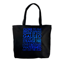Load image into Gallery viewer, Indigo Girls custom blue metallic text on deluxe black canvas tote - Custom YourTen tote bag by BBJ / Glitter Garage