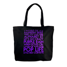 Load image into Gallery viewer, Prince songs custom purple glitter text on deluxe black canvas tote - Custom YourTen tote bag by BBJ / Glitter Garage