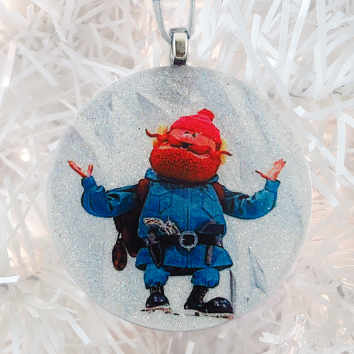 Yukon Cornelius glass and glitter handmade Christmas ornament by BBJ