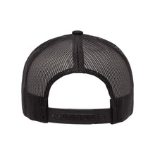 "Load image into Gallery viewer, Classic black snapback hat with ""Elegant"" and raised finger gold foil detail by BBJ / Glitter Garage. Unisex style, breathable mesh back with matching plastic snap closure fits most. Back view."